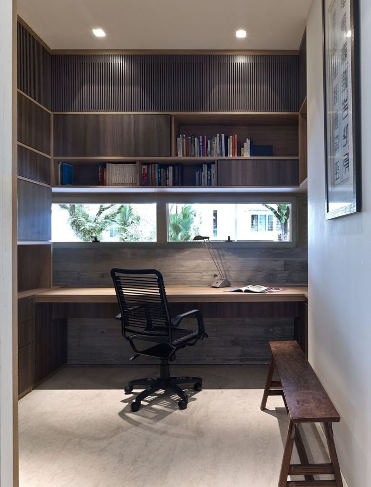 Lovely Decorating: Creative Built In Studying Desk On Small Space Home Study Design  Mixed With Black Swivel Chair Also Fixed Window Beneath Floating Bookcu2026 Part 26