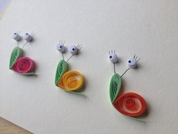 Caracoles arte enclavijada tarjeta de por ElPetitTaller en Etsy