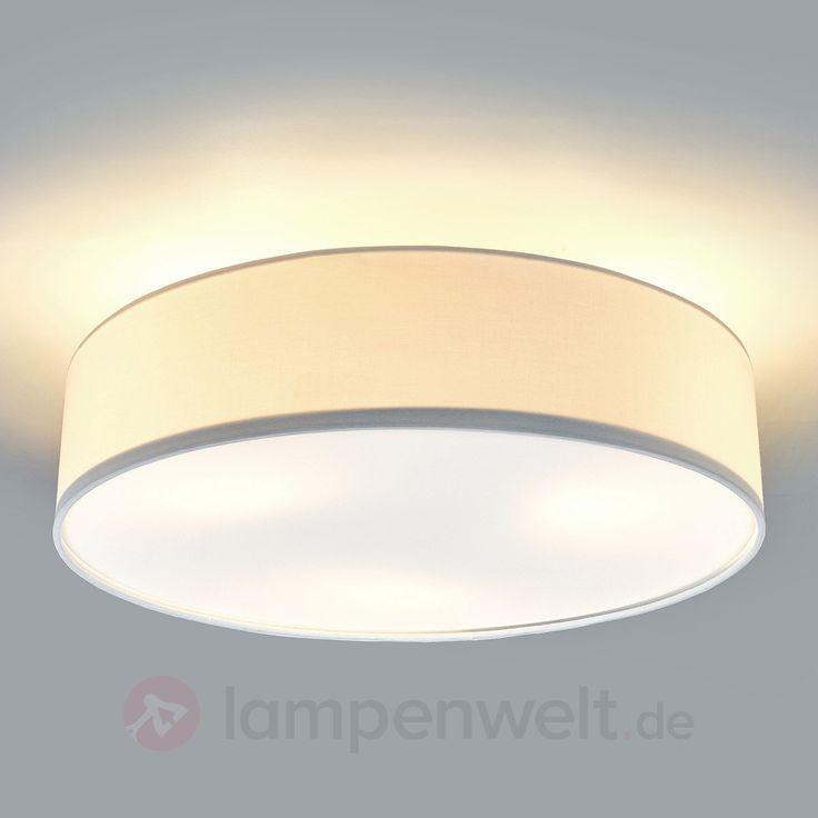 Cremefarbene LED-Deckenleuchte Sebatin aus Stoff 9620328
