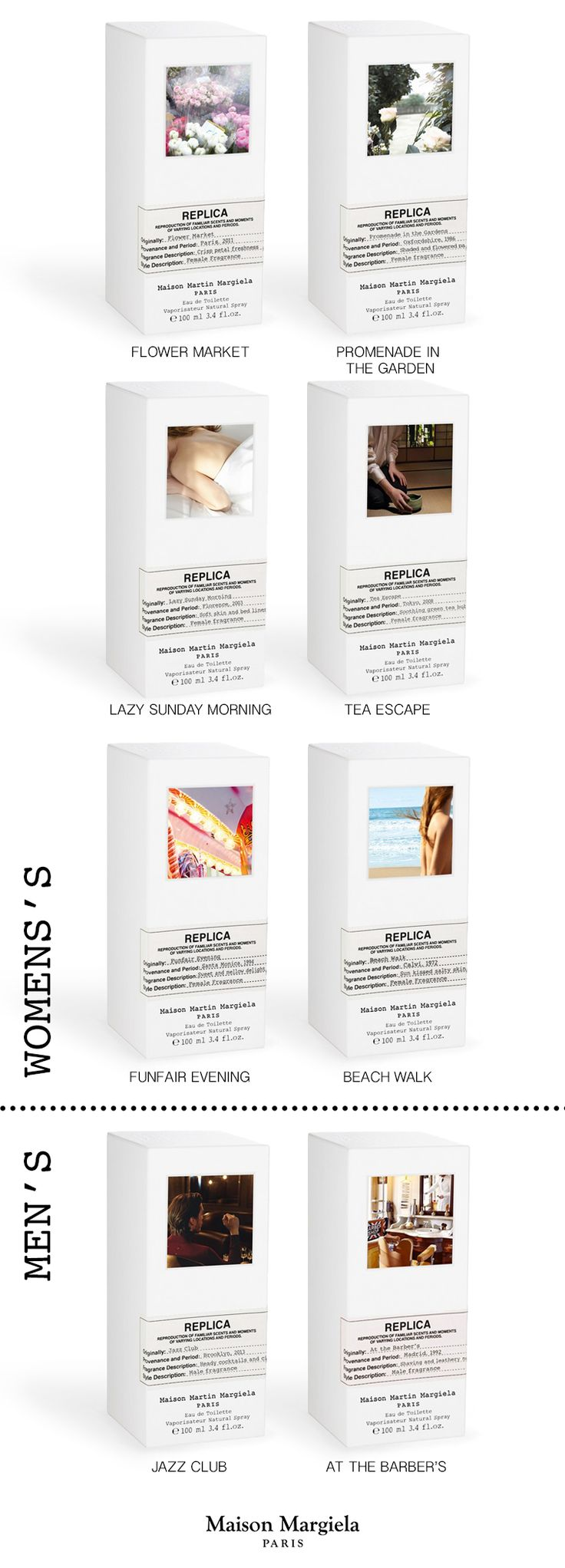 Replica' fragrances instantly evoke images, impressions and emotions that echo the collective unconscious as well as our own personal history. Each 'Replica' fragrance evokes the timelessness of olfactive memories, re-transcribing moments into unique scents. Discover the collection of eight fragrances. #smellslikememories
