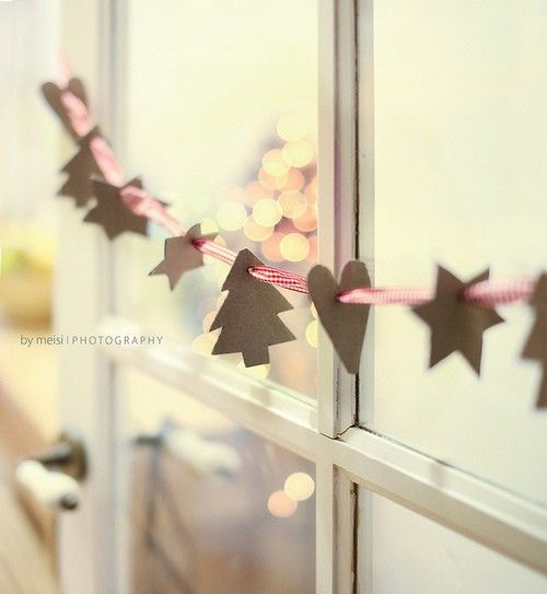 DIY Christmas Garland.... Use Cookie Cutters To Trace.... Use Card Board To Make The Shapes....