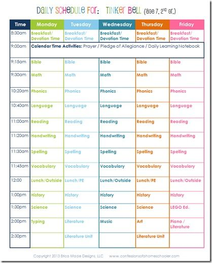 Daily Homeschool Schedule: 2nd Grade | Confessions of a Homeschooler