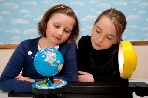 Robust and 3D illuminated teaching model of the Sun Earth and Moon with dual set-up to teach day and night seasons length of day shadows phases of the moon eclipses and other topics. Superior ge...