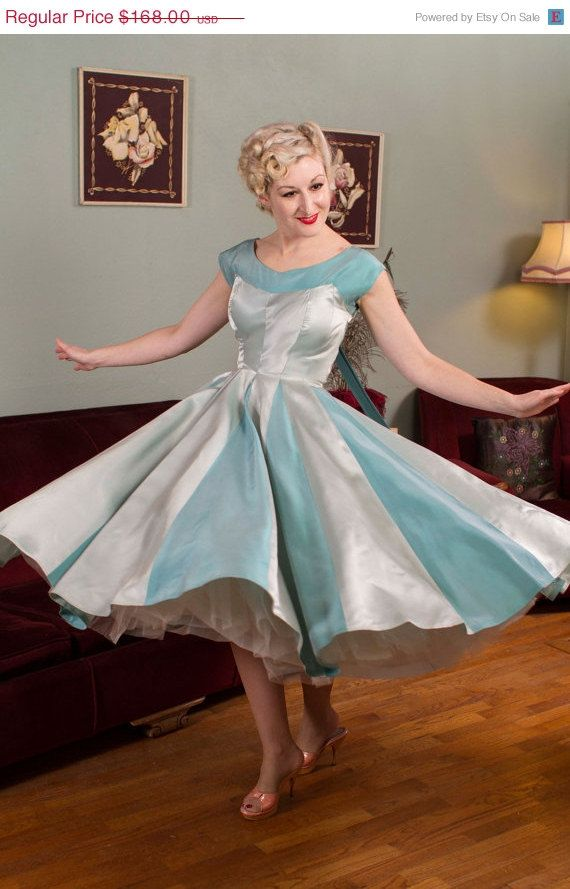 1950s Vintage Dress - Icy Blue Two Tone Satin and Sharkskin Party Dress with…
