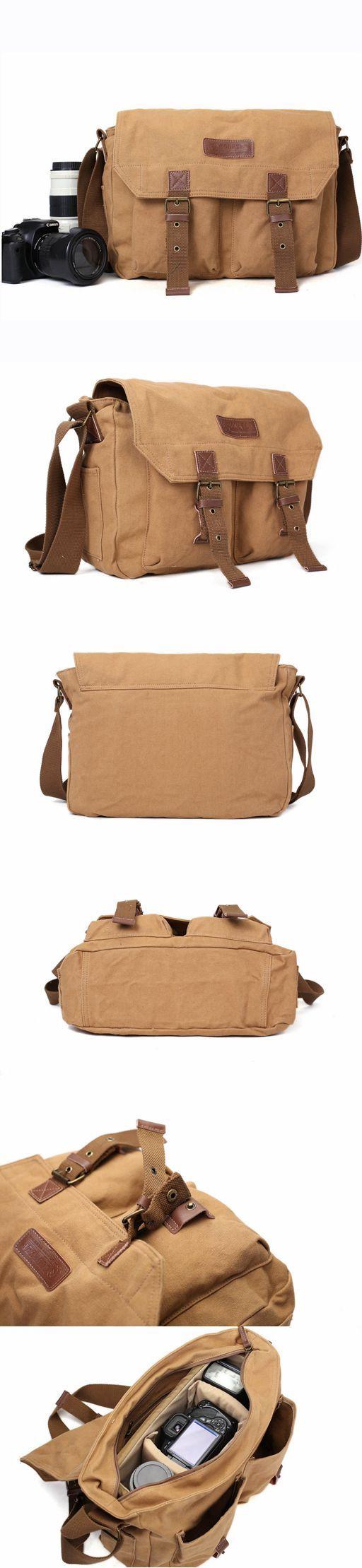 Khaki Canvas DSLR Camera Bag, Professional SLR Camera Purse Fit Canon Nikon F1003