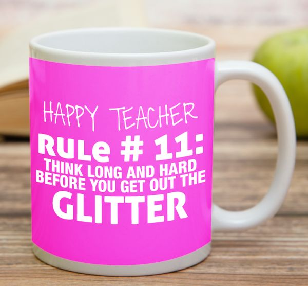 """""""Happy Teacher Rule Number 11""""  High quality 11 oz ceramic mugs, microwave and dishwasher safe.  Delivery. All mugs are custom printed within 2-3 working days and delivered within 3-5 working days. Express delivery costs $4.95 for the first item or if buying 2 or more items delivery is FREE!"""