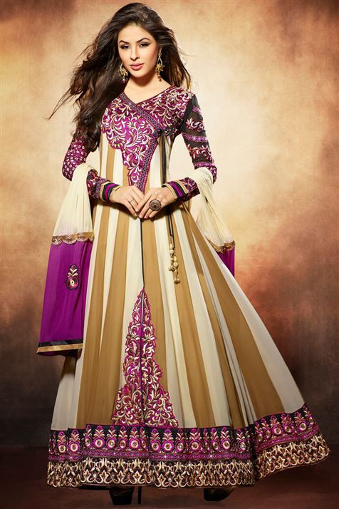 Stylish Yellow Georgette Embroidered Floor Touch Anarkali Salwar Suit