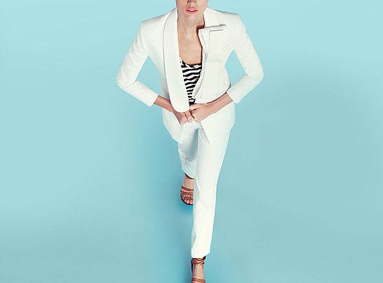 Prabal Gurung for J Crew white suit and striped top