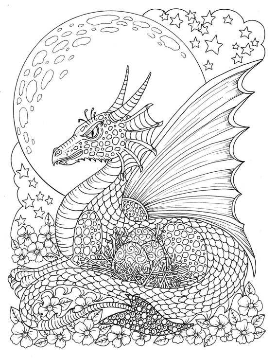 Fantasy Themed Coloring Book Fairies Dragons Pixies