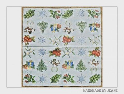 ubrousek s vánočními motivy jablko jablíčko sníh strom zima vánoce stromek stromeček sněhulák vločka cesmína jmelí