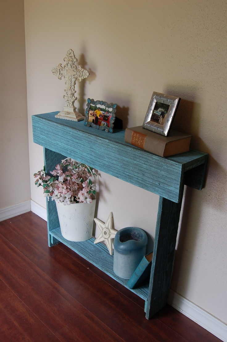 34x7x34 Console Table Any Color Cedar Wood Skinny Wall