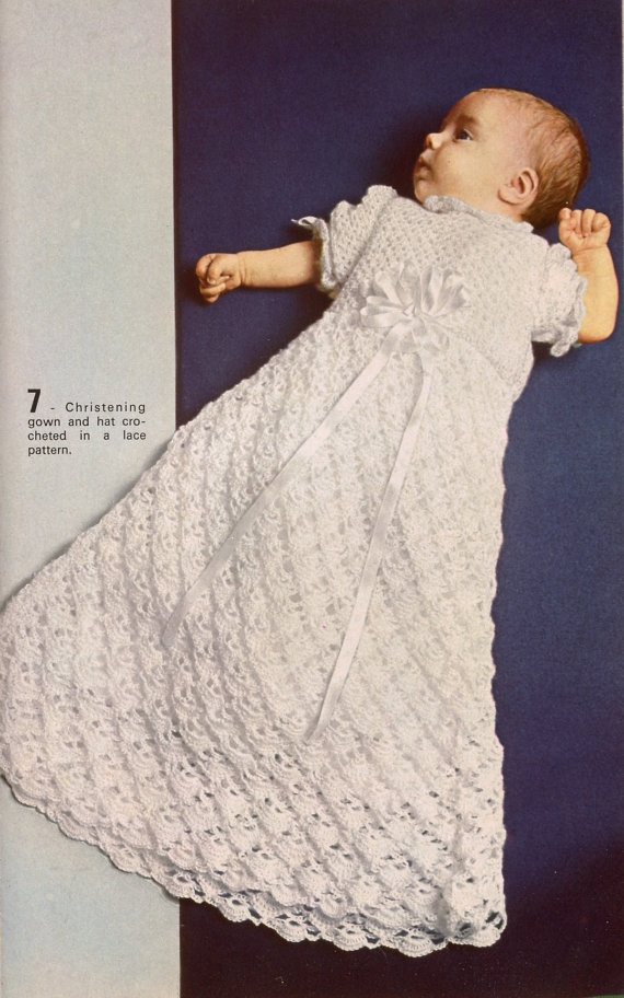 Free Knitting Pattern Baby Christening Gown : 17 Best images about Crocheted christening gowns, christening dresses. Hekla ...