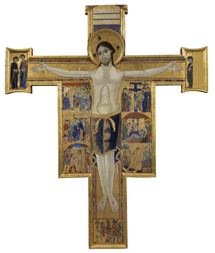 Maestro della Croce 432 (Maestro pisano) - Crocifisso con storie della Passione e della Redenzione - 1180-1200 - croce sagomata dipinta a tempera e oro su tavola - Galleria degli Uffizi, Firenze