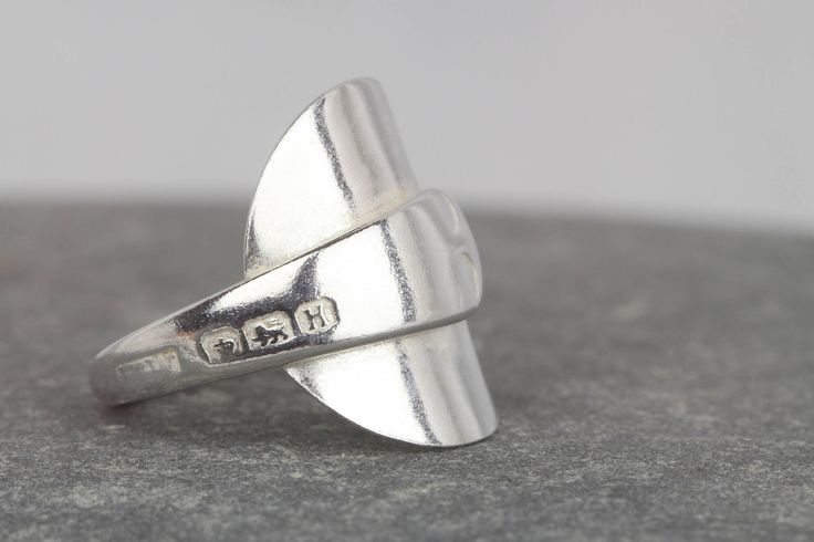 Sterling silver chunky ring ~Vintage spoon ringS ~ 1950s silver spoon ring ~unusual jewellery ~ cutlery jewelry ~ring size I ~ gift for wife by AmySquaredJewellery on Etsy https://www.etsy.com/uk/listing/516807260/sterling-silver-chunky-ring-vintage