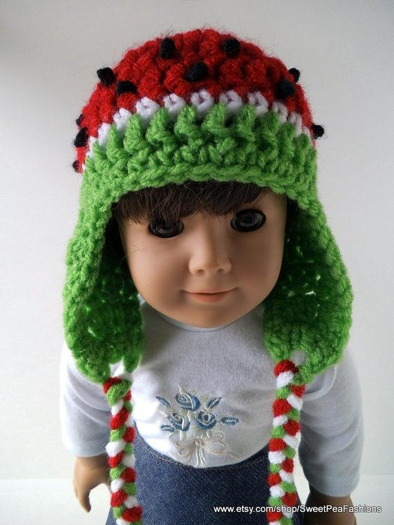 American Girl Crocheted Watermelon Ear Flap by SweetPeaFashions, $5.50: 236314, Girls Accessories, Girls Dolls, Crochet American, Ears Flap, Girls Ideas, Girls Crochet, American Girls,  Poke Bonnets