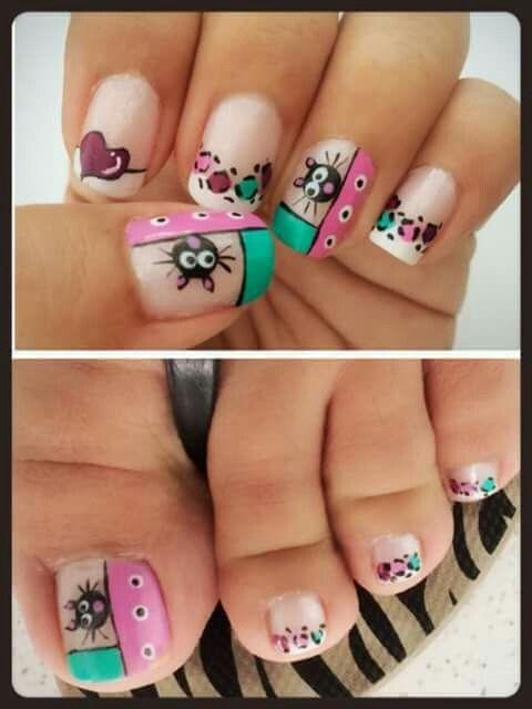 uñas rosa, turquesa, gato animal print