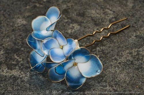 Squisito fili e resina dei monili Kanzashi capelli del fiore del ~ di The perline Gem Journal