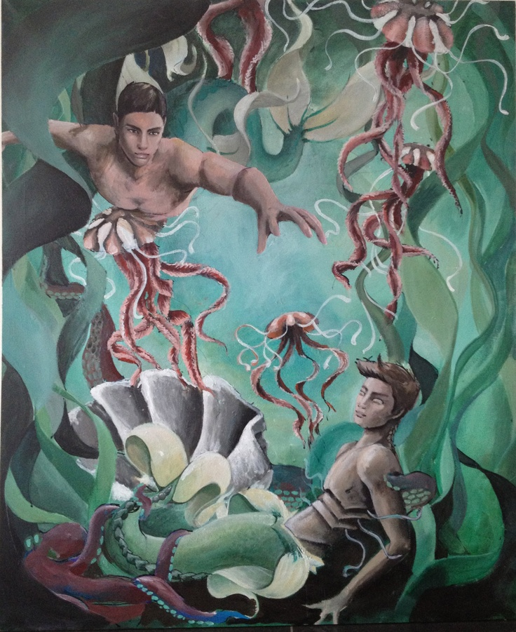 i've been painting this for years and i can't stop....mermen and jelly fish