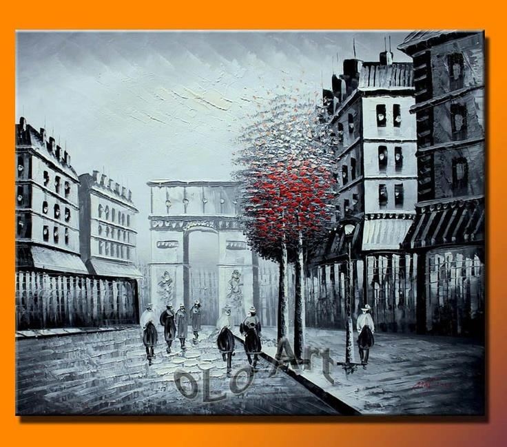 Black Amp White With Red Tree Paris Street Arc De Triomphe