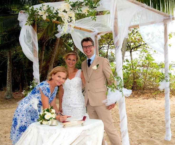 Clifton Beach elopement from Denmark,  wedding arbour by barefeet weddings.