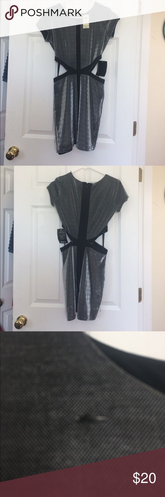 Dress Metallic silver dress with cutouts NWT never worn had some pulls that are pictured when purchased zipper down the back great going out dress! Arden B Dresses Mini