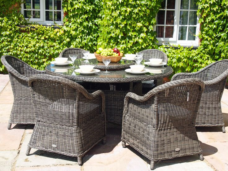 oakita capri 6 seat grey rattan garden furniture 15 metre round table dining set main image