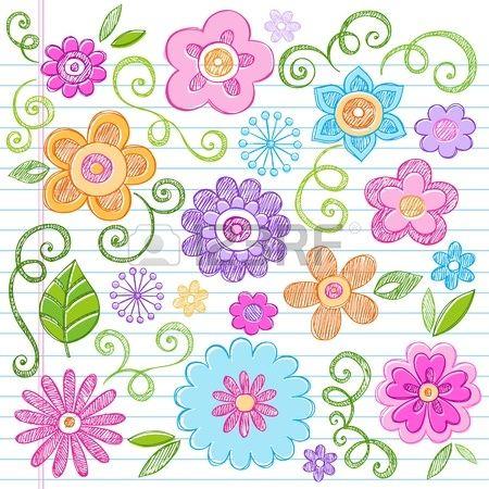 Flores Sketchy Doodles de colores dibujados a mano Volver a la escuela los elementos del vector portátiles, diseño, ilustración en el fondo forrado de papel Sketchbook