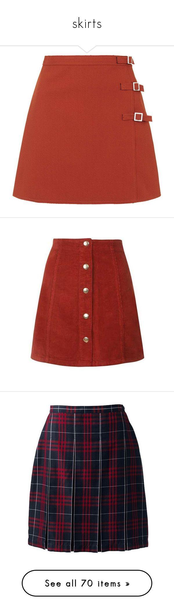 """skirts"" by harthkai on Polyvore featuring skirts, mini skirts, bottoms, topshop, faldas, orange, petite, short a line skirt, petite skirts and red a line skirt"