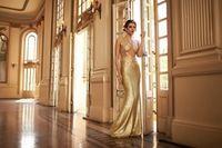 Искрясь Золотыми Блестками Русалка Пром Платья 2016 Sexy See Through Длинные Вечерние Платья Vestido Де Феста