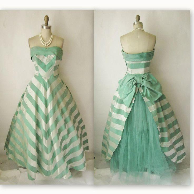 50 39 s wedding dress vintage 1950 39 s striped damask satin for Striped bridesmaid dresses wedding