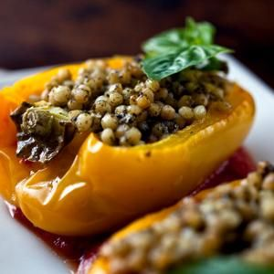 Yellow Peppers With Israeli Couscous and Pesto - Kids love couscous ...