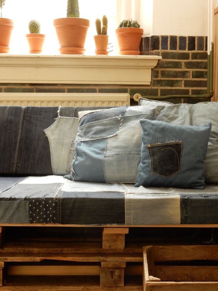 hand made pallet couch with jeans upholster