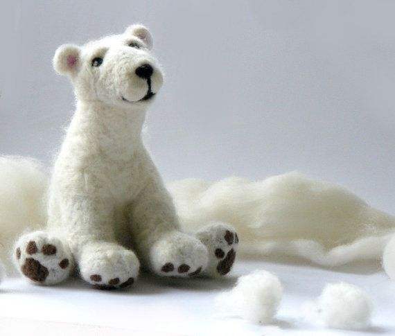Needle felted polar bear Felt Animal Natural by AndreaFelting, $66.00
