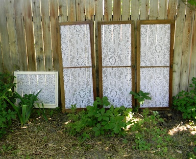 Antique window screen frames with lace