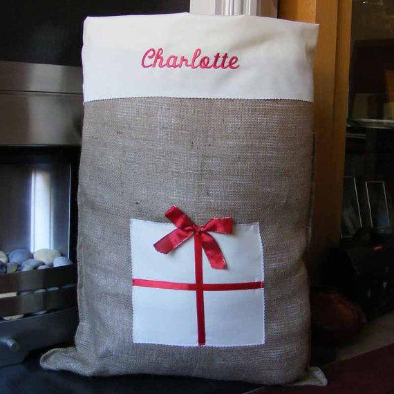 Christmas Santa Sack Personalised by lootybag on Etsy, £12.50