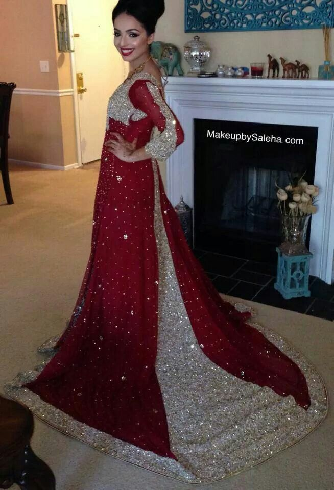 Red anarkali bridal gown