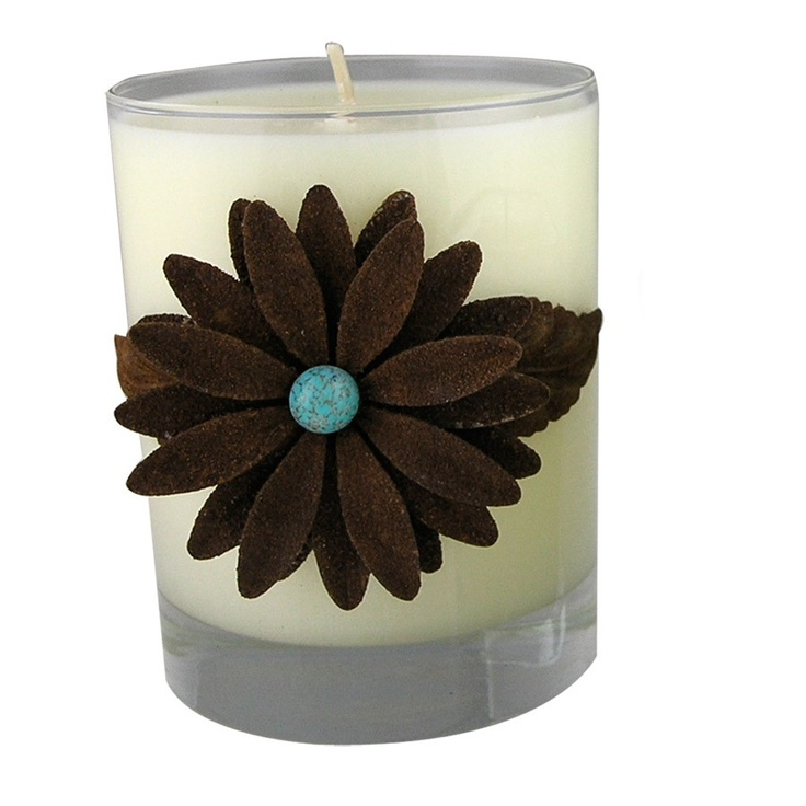 We love Sir Oliver candles! Creme brulee scented candle set in a beautiful glass holder with iron and turquoise flower embellishment