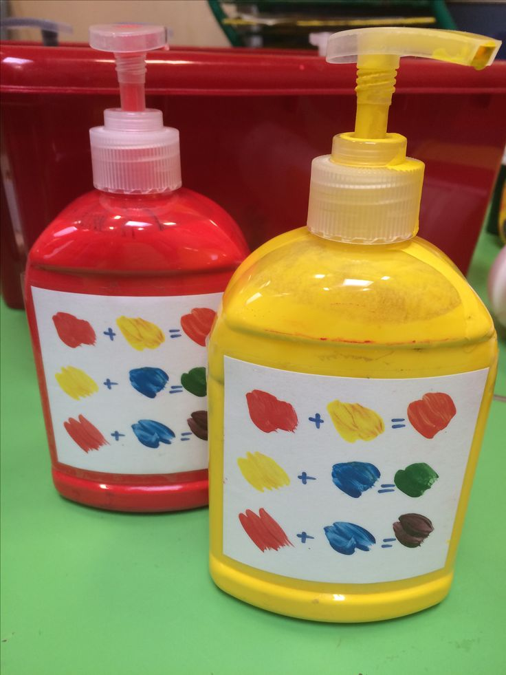 Eyfs for easy access to paint for colour mixing! I added the labels to remind them which colour combinations to try x
