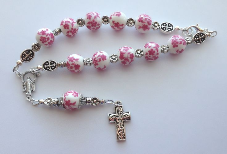 White Porcelain with Pink Flowers Chaplet, Miraculous Medal Chaplet, Our Lady of Grace, One Decade Catholic Chaplet, Large Bead Chaplet by RosariestoCherish on Etsy