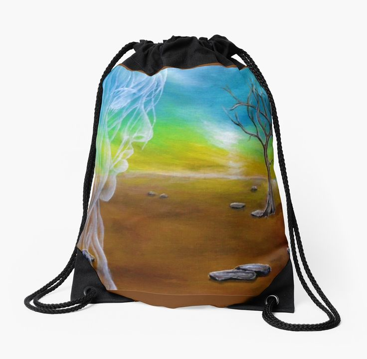 Drawstring Bag,  landscape,tree,angel,fairy,face,sky,girl,woman,female,feminine,figure,white,long,hair,white,blue,brown,colorful,impressive,beautiful,unique,trendy,artistic,unusual,accessories,for sale,design,items,products,ideas,redbubble