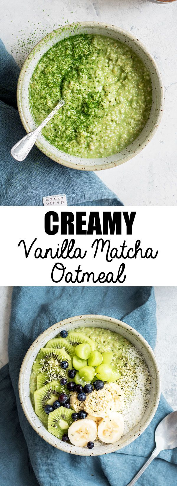 This creamy vanilla matcha oatmeal is a healthy and easy breakfast recipe made with steel-cut oats!