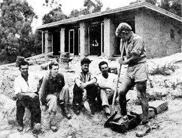 The first mud brick building 1947 L-R: L.Mayfield, carpenter, Sonia Skipper, Alistair Knox, Tony Jackson, Gordon Ford