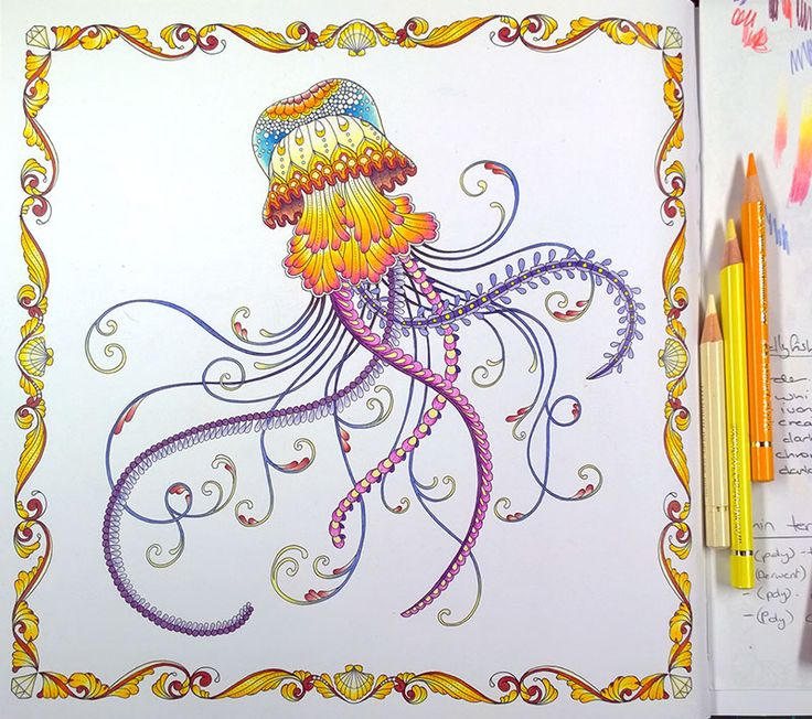 Peta Hewitt Coloring Tutorial: Jellyfish in Lost Ocean.  Parts 1 and 2.  Click on image to access the La Artistino site containing video tutorials.