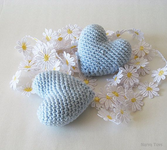 Amigurumi Crochet Light Blue Heart Set of 2 by naryatoys on Etsy