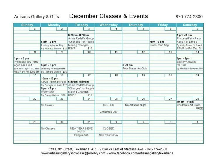 Artisans Gallery & Gifts Dec 2013 Calendar of classes and events.  Check the Gallery out at www.facebook.com/artisansgallerytexarkana or shop online at www.artisansgalleryshowcase.weebly.com