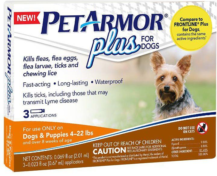PetArmor Plus kills fleas, flea eggs, flea larvae, ticks and chewing lice for up to 30 days. The fast-acting, long-lasting squeeze-on contains the #1 vet-recommended active ingredients, fipronil, and (s)-methoprene. This waterproof formula breaks the flea life cycle by killing flea eggs and larvae for up to 12 weeks and kills ticks that may transmit Lyme disease. It also controls mites that may cause sarcoptic mange and kills deer ticks, dog ticks, American dog ticks and lone star ticks.