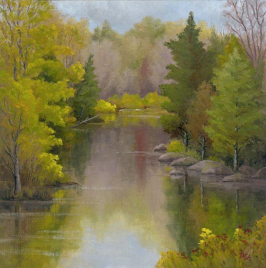 Woodland Waterway - Dennis Tasa - Oil on linen - 24 x 24 - www.dennistasa.com