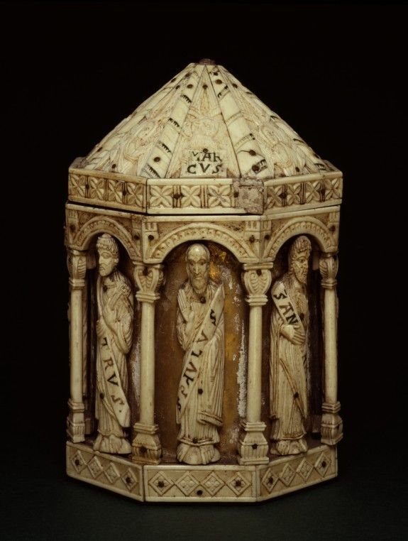 Reliquary with Apostles  This octagonal reliquary is decorated with standing figures of eight apostles, all carved in a compact, linear style more typical of the 11th and 12th centuries. The shape of the reliquary, though, is 13th-century.  The Walters Art Gallery, Baltimore.  CREATOR German (Artist)  PERIOD mid 13th century  MEDIUM bone on wooden frame with gold gilding and red and green paste inlays.  ACCESSION NUMBER 71.146