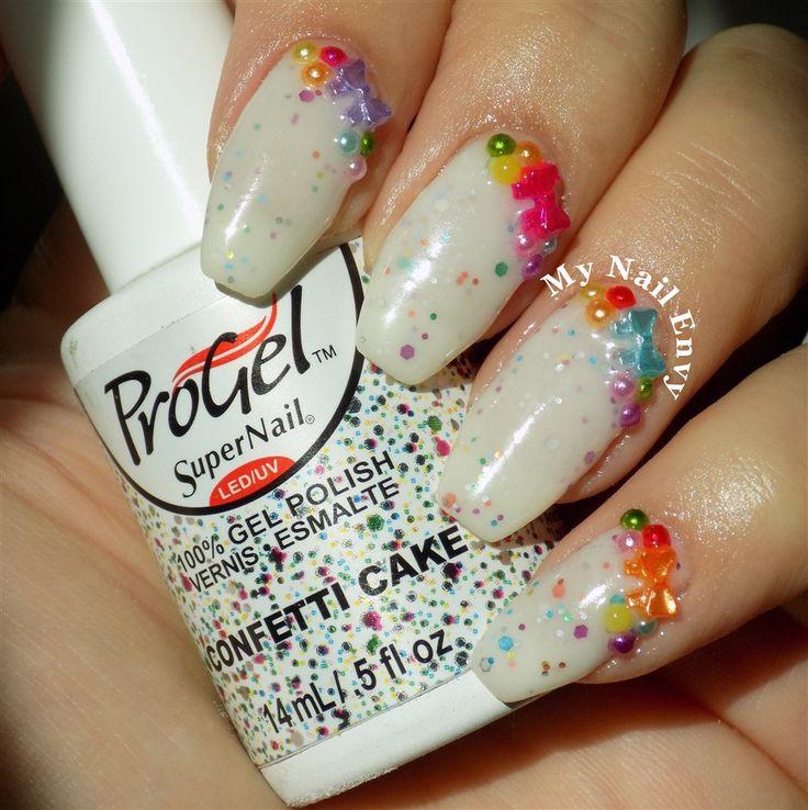 Confetti Cake – My Nail Envy  progel, confetti cake, bows, glitter, birthday nails, fun, summer, party, pearls, multicolor, white, soak off gel, sparkle, bling