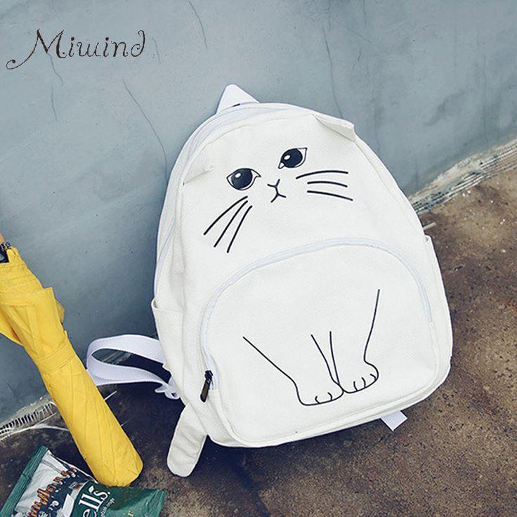2016 Cute Designer Harajuku Printing Cat Ear Black White Canvas Backpack Women School Notebook Bag Teens Girl Rucksacks  Mochila